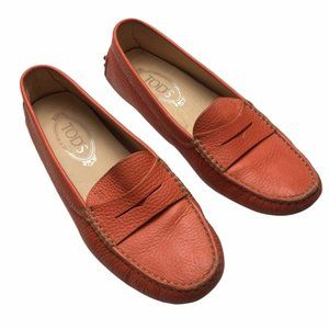 TOD'S Women's Orange Leather Gommino Loafers 39